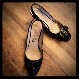 Salvatore Ferragamo black sling back shoes